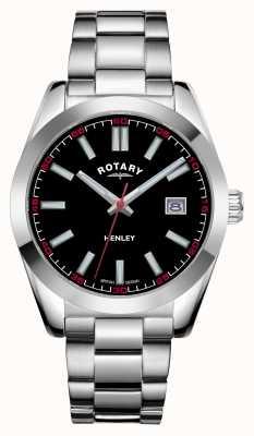 Rotary Mężczyźni | henley | czarna tarcza | bransoleta ze stali nierdzewnej GB05180/04