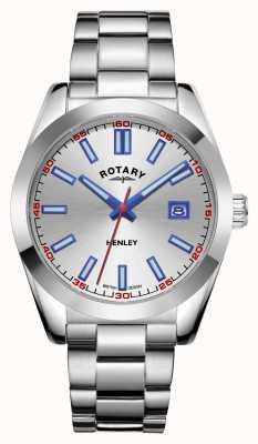 Rotary Mężczyźni | henley | srebrna tarcza | bransoleta ze stali nierdzewnej GB05180/59