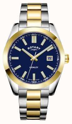 Rotary Mężczyźni | henley | niebieska tarcza | dwukolorowa bransoleta ze stali nierdzewnej GB05181/05