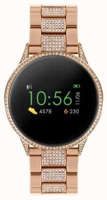 Reflex Active Inteligentny zegarek z serii 4 | kolorowy ekran dotykowy | zestaw kamieni bransoletka ze stali nierdzewnej w kolorze różowego złota RA04-4014
