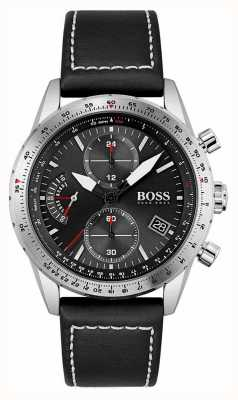 BOSS | edycja pilotażowa | męskie | czarny skórzany pasek | czarna tarcza | 1513853