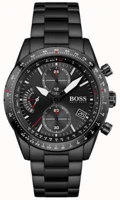 BOSS | męskie | edycja pilotażowa | czarna bransoletka | czarna tarcza chronografu | 1513854