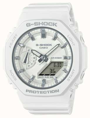 Casio Średniej wielkości g-shock | biały pasek z żywicy | biała tarcza GMA-S2100-7AER