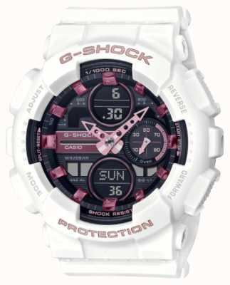 Casio G-shock | sporty unisex | biały pasek z żywicy | czarna tarcza GMA-S140M-7AER