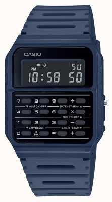 Casio Zegarek z kalkulatorem retro | niebieski pasek z żywicy | czarna tarcza CA-53WF-2BEF