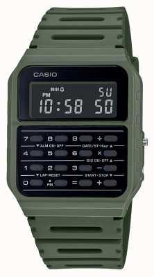 Casio Zegarek z kalkulatorem retro | zielony pasek z żywicy | czarna tarcza CA-53WF-3BEF