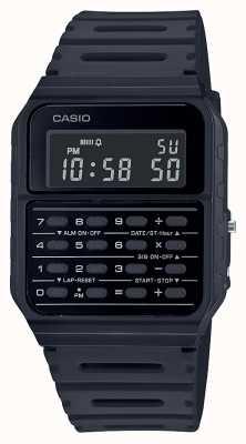 Casio Zegarek z kalkulatorem retro | czarny pasek z żywicy | czarna tarcza CA-53WF-1BEF