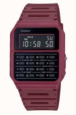 Casio Zegarek z kalkulatorem retro | głęboki czerwony pasek z żywicy | czarna tarcza CA-53WF-4BEF