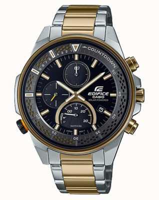 Casio Edifice slim szafirowy chronograf | dwukolorowa stalowa bransoletka | czarna tarcza EFS-S590SG-1AVUEF