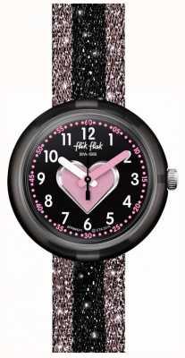 Flik Flak Cuoricino | różowy / czarny pasek tekstylny | czarna tarcza FPNP071