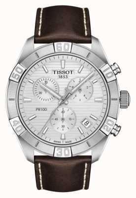 Tissot Pr100 sport | chronograf | srebrna tarcza | brązowy skórzany pasek T1016171603100