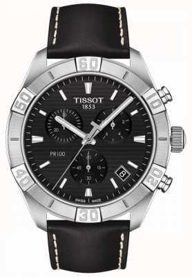 Tissot Pr100 sport | chronograf | czarna tarcza | czarny skórzany pasek T1016171605100
