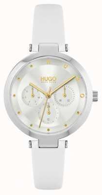 HUGO #nadzieja | biały skórzany pasek damski | srebrna tarcza 1540086