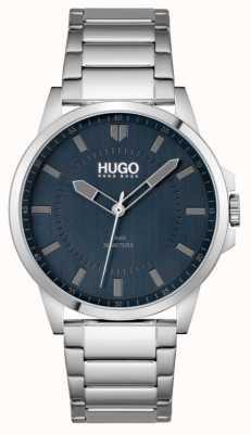 HUGO #first | męska bransoletka ze stali nierdzewnej | niebieska tarcza 1530186