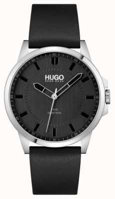 HUGO #first | czarny skórzany pasek męski | czarna tarcza 1530188