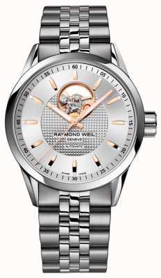 Raymond Weil Freelancer | męska bransoletka ze stali nierdzewnej | srebrna tarcza 2710-ST5-65021