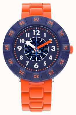 Flik Flak Orangebrick | pomarańczowy pasek silikonowy | niebieska tarcza FCSP103