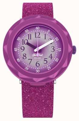 Flik Flak Purpleaxus | silikonowy pasek z fioletowym brokatem | fioletowa tarcza FCSP106