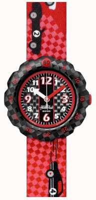 Flik Flak 3 2 1 idź! | pasek z materiału w czerwony wzór samochodu wyścigowego | czarna tarcza FPSP044