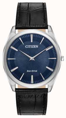 Citizen Stiletto | męski napęd ekologiczny | czarny skórzany pasek | niebieska tarcza AR3070-04L