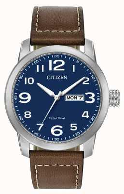 Citizen Męski brązowy skórzany pasek eco-drive wr100 BM8471-19L