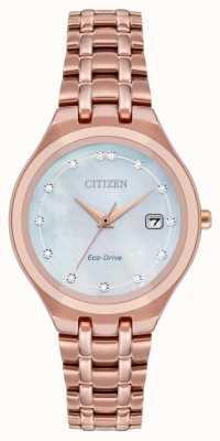 Citizen Damska tarcza diamentowa z napędem ekologicznym EW2489-54D