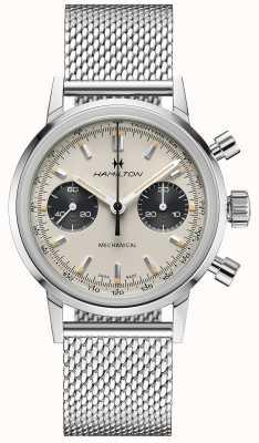 Hamilton Intramatic - mechaniczny chronograf   srebrny pasek z siatki   biała tarcza H38429110