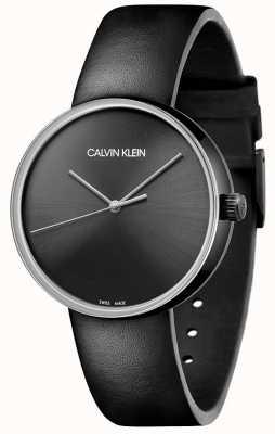 Calvin Klein Czarny skórzany pasek damski   czarna tarcza KBL234C1