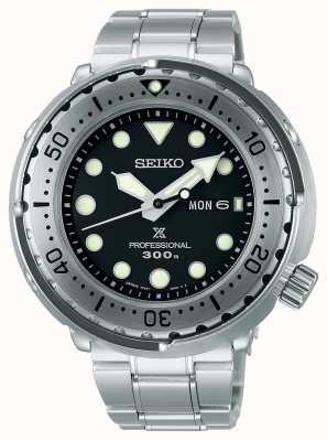 Seiko Prospex | tuńczyk | 300m | bransoleta ze stali nierdzewnej | czarna tarcza S23633J1
