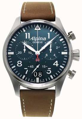 Alpina Męski smartimer pilot chrono | brązowy skórzany pasek | niebieska tarcza AL-372N4S6