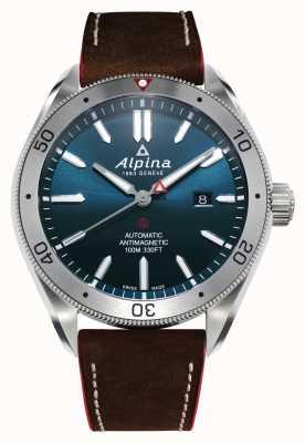 Alpina Męski Alpiner 4 Automatic | brązowy skórzany pasek | niebieska tarcza AL-525NS5AQ6