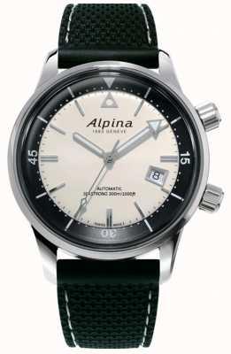 Alpina Dziedzictwo nurków Seastrong dla mężczyzn | czarny silikonowy pasek | biała tarcza AL-525S4H6