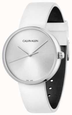 Calvin Klein Biały skórzany pasek damski   srebrna tarcza KBL231L6