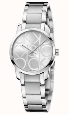 Calvin Klein Miasto   damska bransoletka ze stali nierdzewnej   srebrna tarcza K2G23142