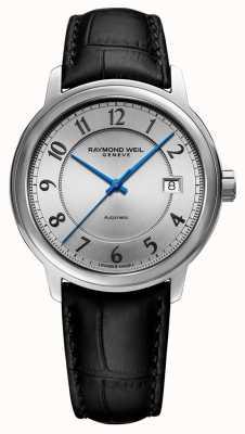 Raymond Weil | maestro | automatyczne | srebrna arabska tarcza | czarny skórzany pasek 2237-STC-05658