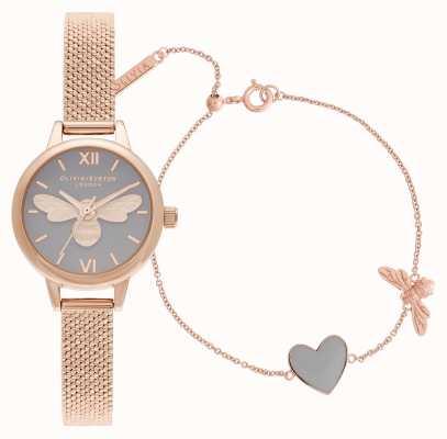 Olivia Burton You have my heart różowo-złoty zegarek i bransoletka OBGSET148