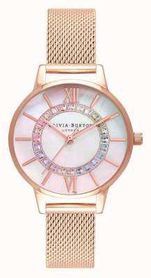 Olivia Burton Rainbow Sparkle Wonderland Siatka w kolorze różowego złota OB16WD95