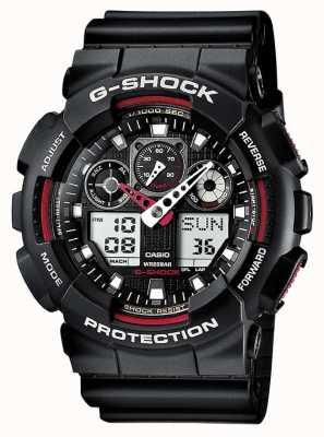 Casio Alarm chronografu G-Shock czarno czerwony GA-100-1A4ER