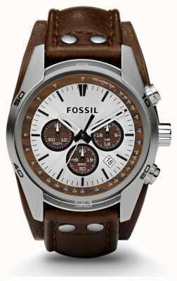 Fossil Męski sportowy zegarek chronograf z brązowym paskiem CH2565