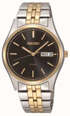 Seiko Dwukolorowy męski zegarek z czarną tarczą zasilany energią słoneczną SNE034P1