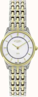 Rotary Damski dwukolorowy ultra-cienki zegarek bransoletkowy LB08001/02