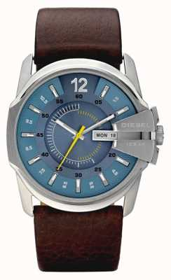 Diesel Męski niebieski zegarek z brązowym skórzanym paskiem DZ1399